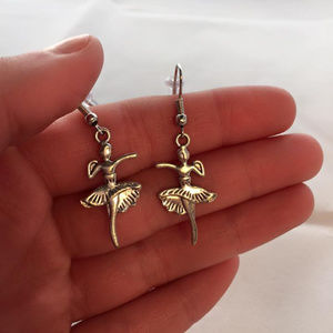 Silver Ballerina Ballet Earrings Hypoallergenic Hk